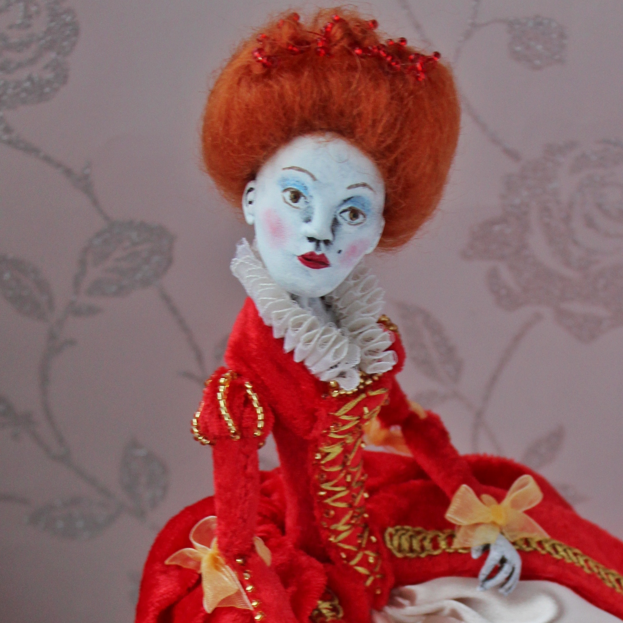 Queenie, clay art doll with ribbon joints