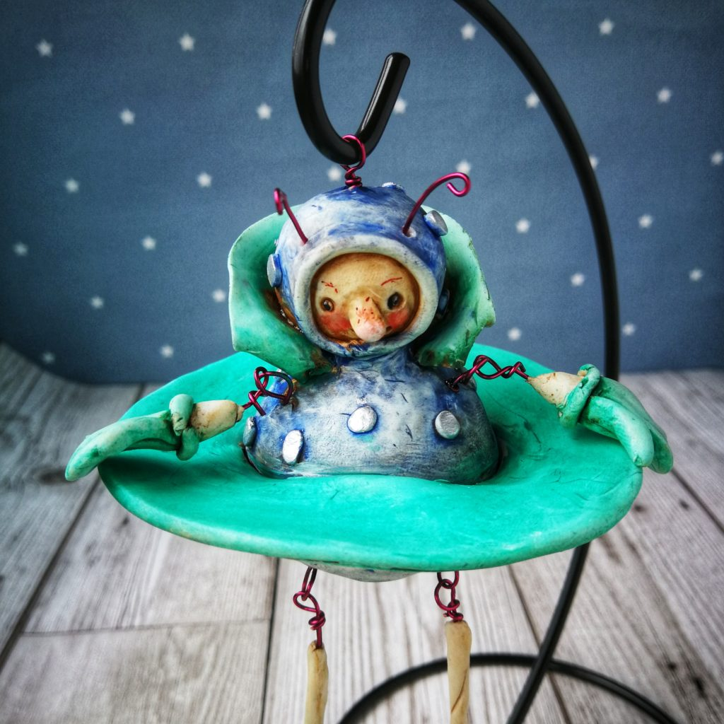 hanging spaceman in fimo