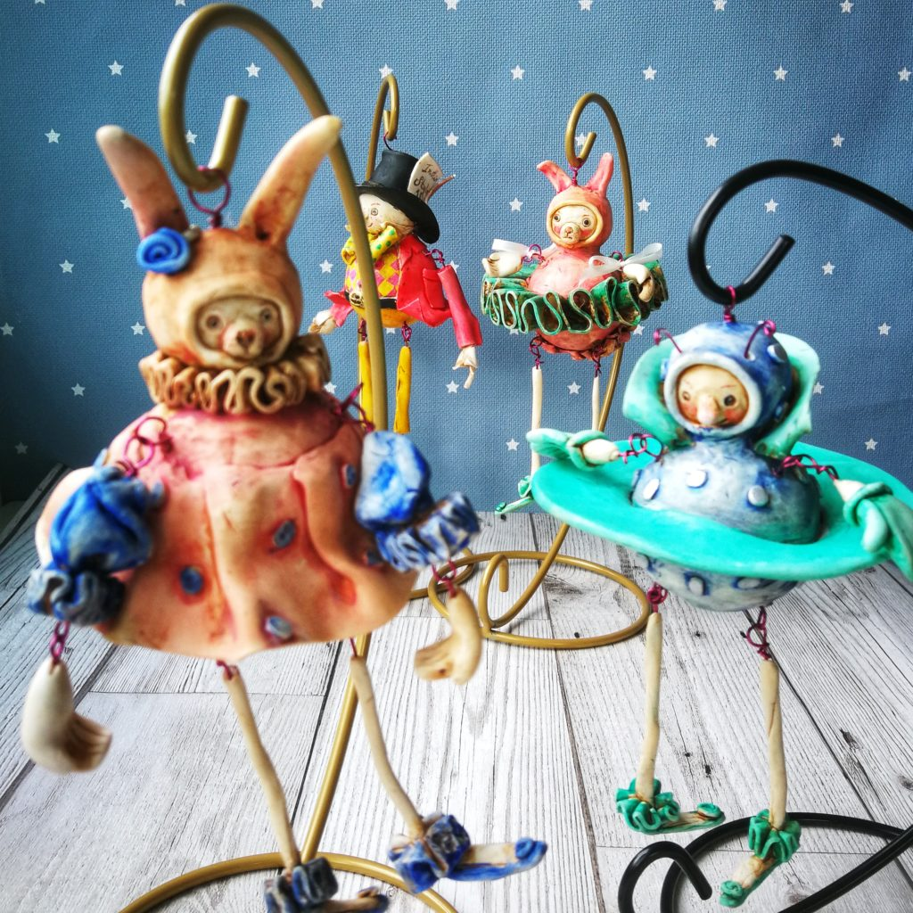 hanging polymer clay art dolls