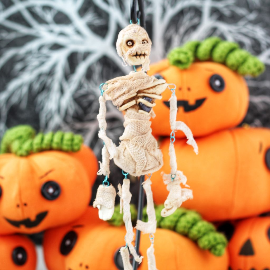 Skeleton Art doll, with pumpkins