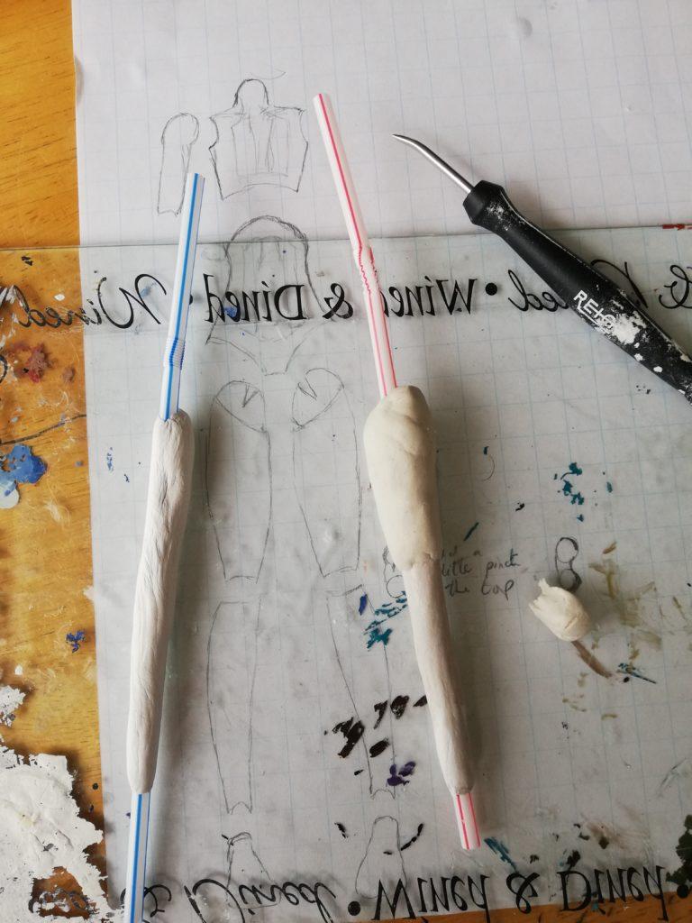 Start of forming legs using straws