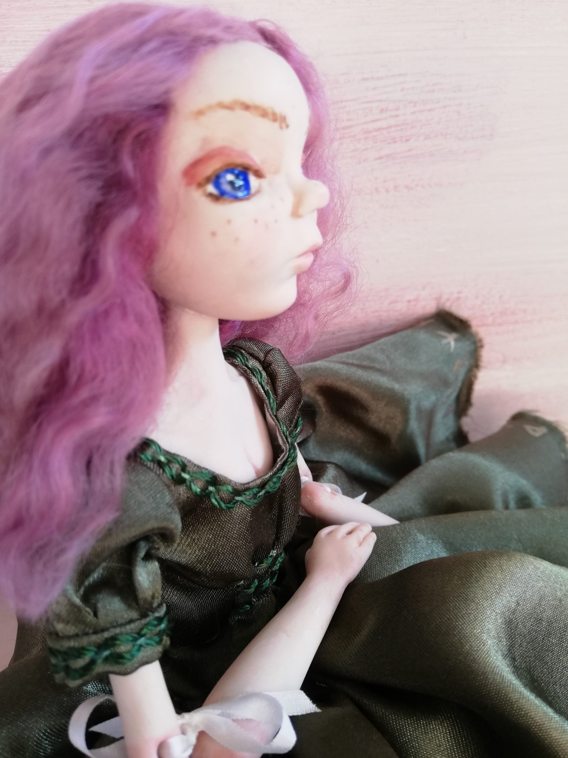 ribbon jointed art doll