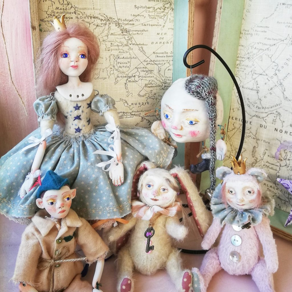 Collection of art dolls